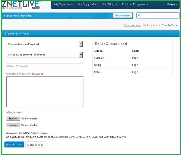 Image of create ticket page