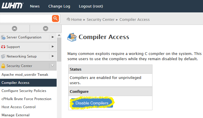 Compiler access setting in whm