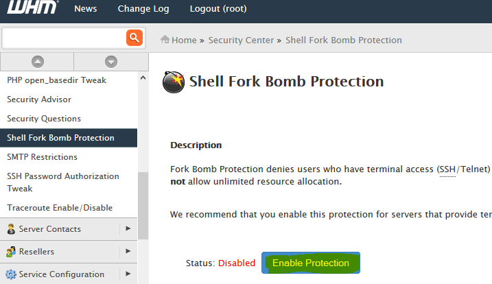 Shell Fork Bomb Protection