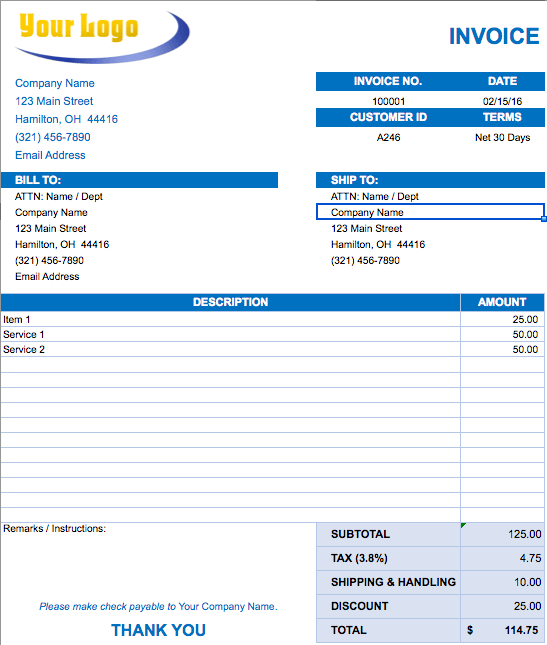 invoice format in excel