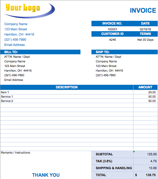 good invoice template  List of 8 Best Invoice Formats in Excel
