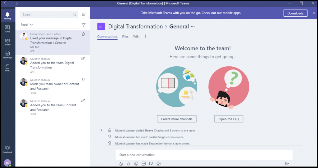 Digital Transformation- Microsoft teams,.