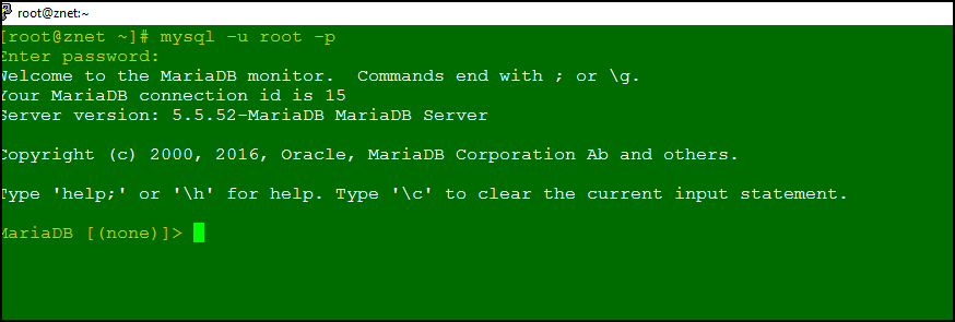 MySQL or MariaDB database